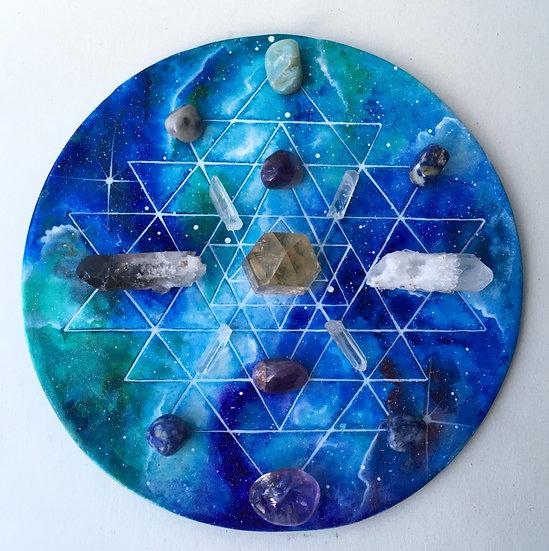 Sri Yantra crystal grid in blues