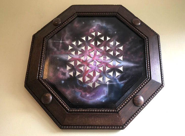 Vintage wooden mirror painting - Flower of life mirror