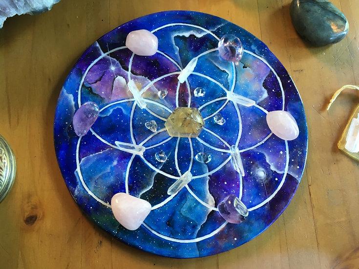 Sacred Geometry Seed of Life crystal grid.