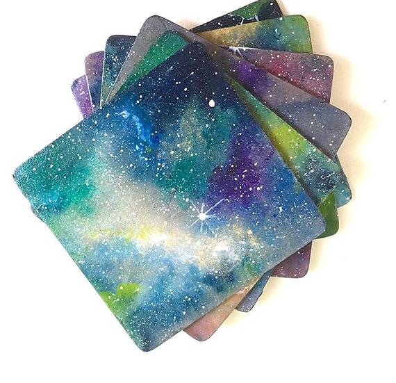 Set of six cosmic coasters for Sarah