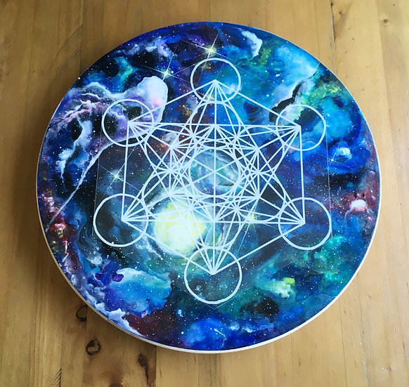 Hand painted wooden rotating crystal grid with overlays