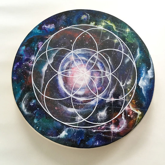 Hand painted cosmic wooden rotating grid with 1 overlay