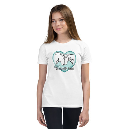 Distracted by Horses Youth Short Sleeve T-Shirt