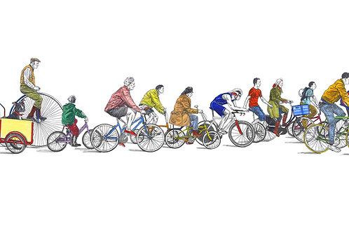 Cyclists 10 x 20 inch