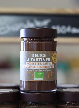Délice à tartiner Bio | Noisette, Lait, Caramel Beurre Salé | Provence | 220g