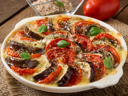 Tian d'aubergines et tomates au fromage de chèvre
