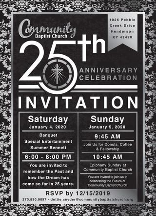Community Baptist 25th Anniversary Invitation