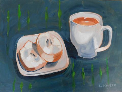 """Cream Cheese Bagel & Tea"" - Lori Rivera"
