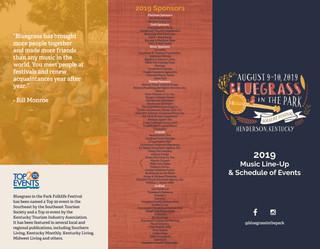 Bluegrass in the Park Brochure 2019