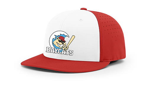 Baycats Richardson PTS30 Lite-R Stretch Fit Hat White Red Vintage Logo