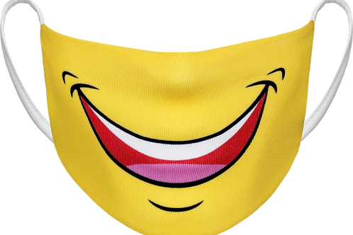 Yellow Smiley Face - Sublimated Reusable Face Mask