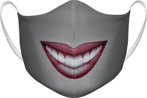 Grey Smiley Face - Sublimated Reusable Face Mask