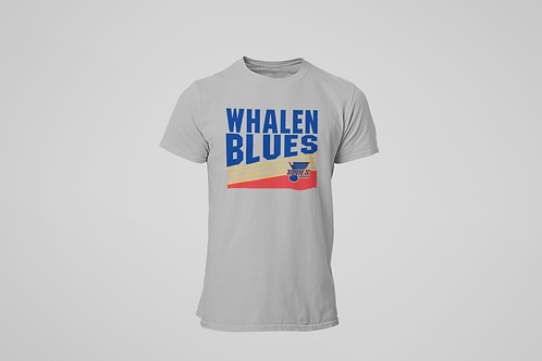 Walen Blues Grey T-shirt (Vintage Blue  Logo)