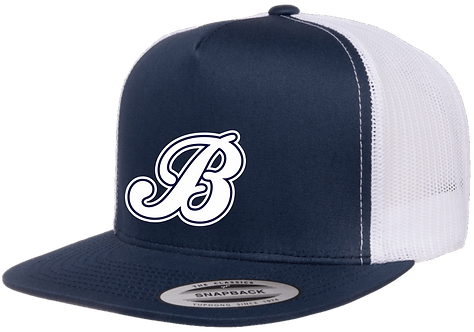 Baycats Yupoong Trucker Snapback Hat Navy White