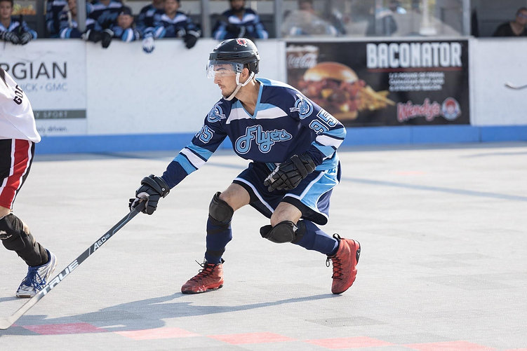 Athlete in a blue jersey