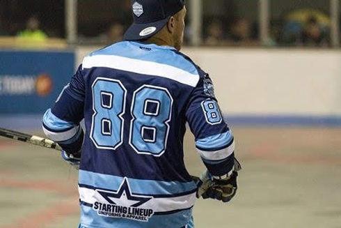 Athlete wearing a blue jersey