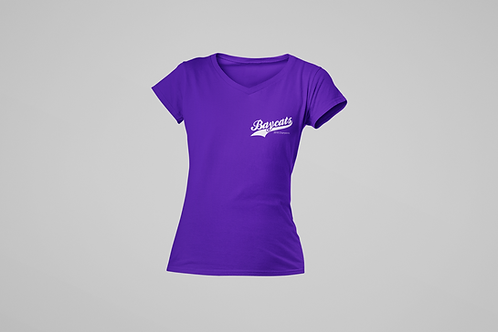 Barrie Baycats Ladies 2018 Champions V-Neck T-Shirt Purple
