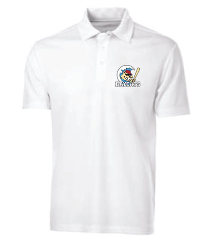 Baycats Team Golf Shirt - White Vintage Logo