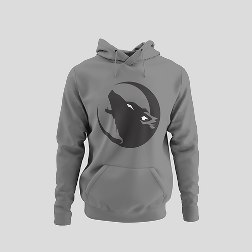Barrie Wolfpack Grey Performance Hoodie (Black/White Eyes Logo)
