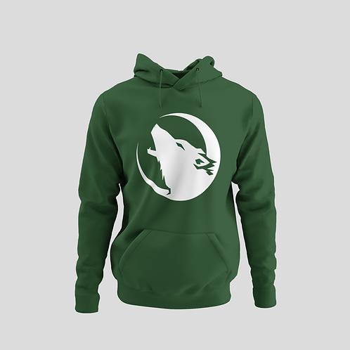 Barrie Wolfpack Green Performance Hoodie (White/Green Eyes Logo)