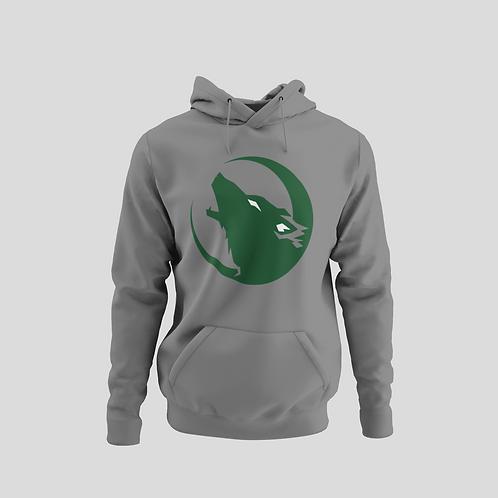 Barrie Wolfpack Grey Performance Hoodie (Green/White Eyes Logo)