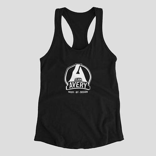 Team Avery Ladies Racerback Tank Top Black