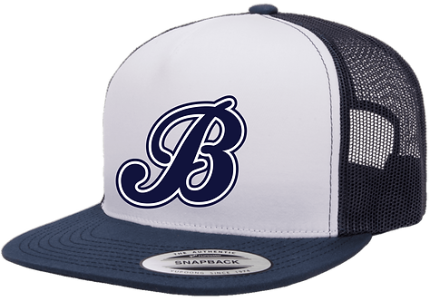 Baycats Yupoong Trucker Snapback Hat White Navy
