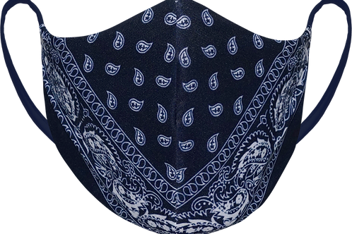 Navy Paisley - Sublimated Reusable Face Mask