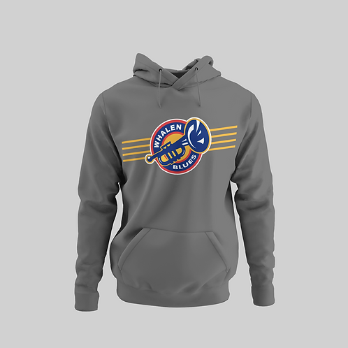 Whalen Blues Dark Grey Performance Hoodie (Striped Logo)