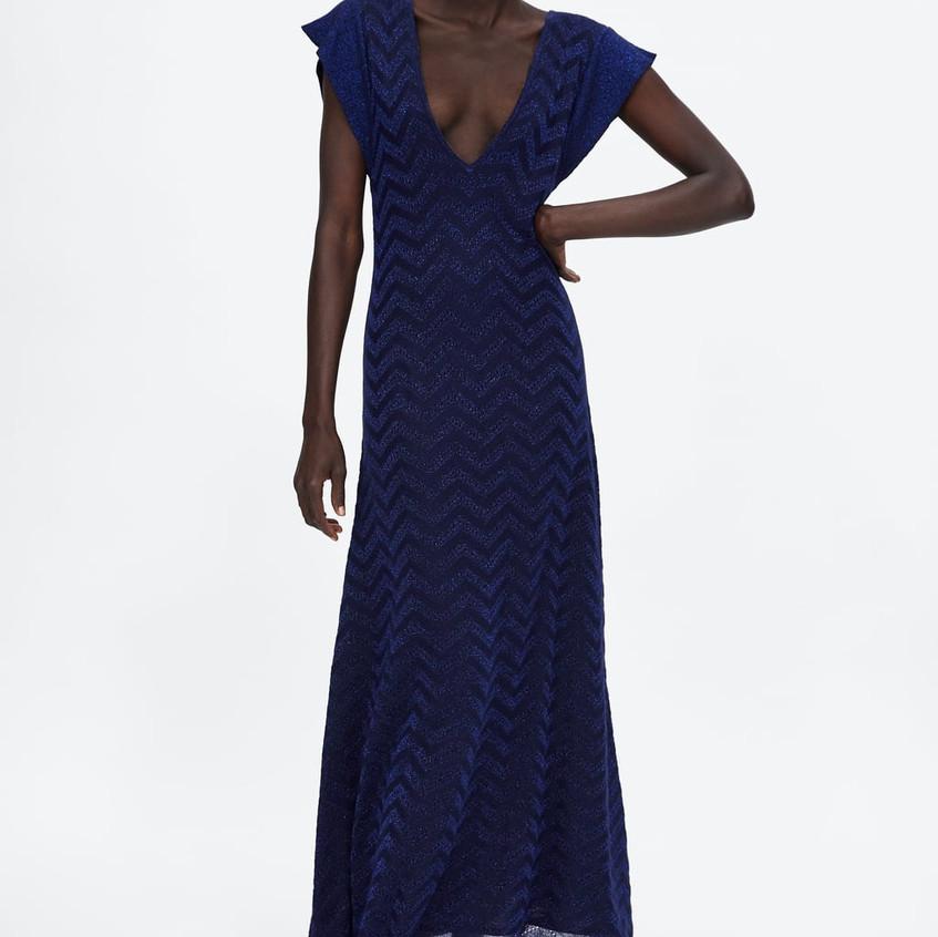 Metallic Thread Pointelle-Knit Dress