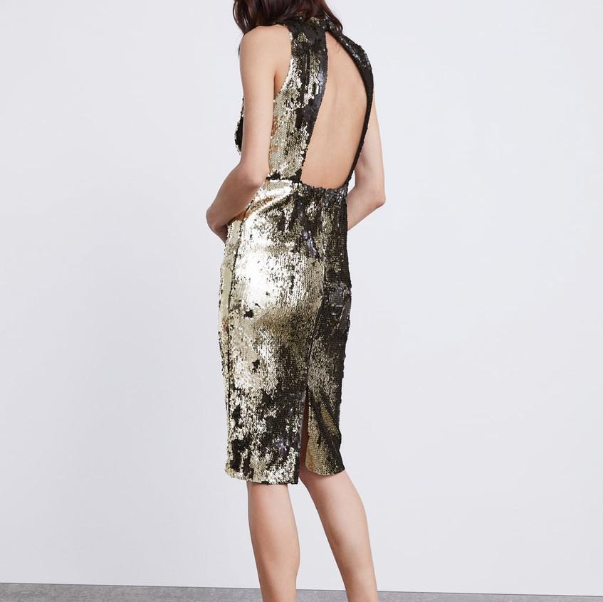 Gold/Black Sequinned Dress
