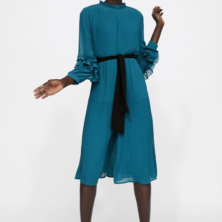 Pleated Jumpsuit Dress with Belt