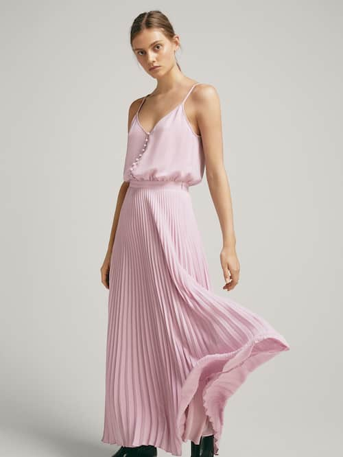 Pink Pleated Dress with Buttons