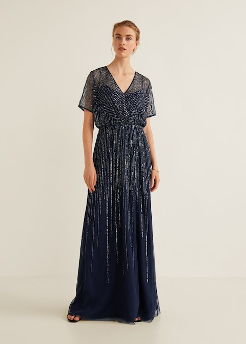 Navi Blue Sequin Gown