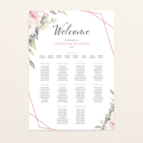 Pink Bloom Seating Chart