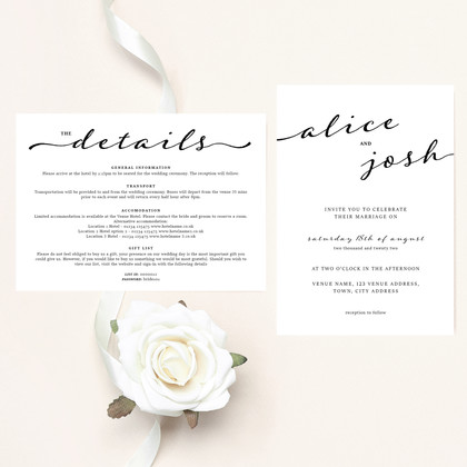 Alice - Invite and Details Card