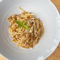 Spaghetti with Red Pesto