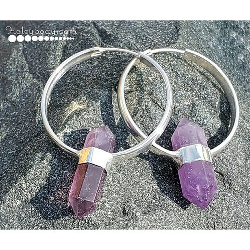16g Sterling Hangers with Amethyst