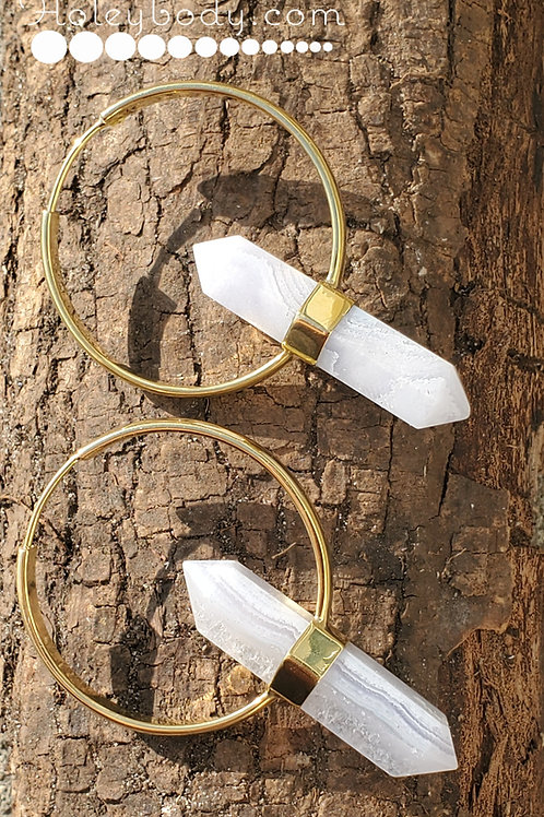16g Brass Hangers with Blue Lace Agate