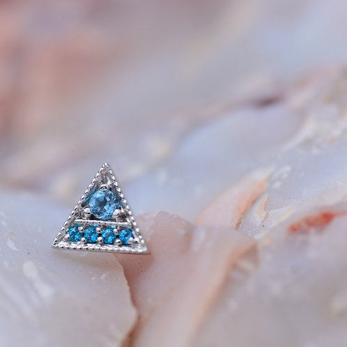 Threadless Endymion Triangle White Gold with Paraiba and Swiss Blue Topaz