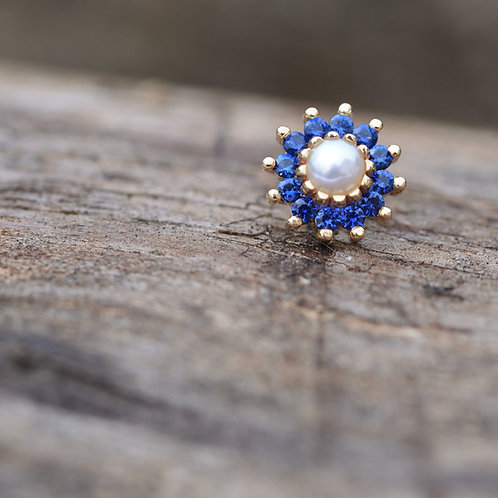 The Rose : threadless 6mm 14k yellow gold Genuine Pearl and Sapphires