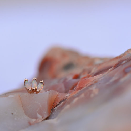 Marquise Fan in Rose Gold with Genuine White Opal