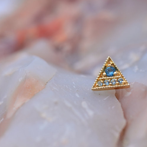 Threadless Endymion Triangle Solid Yellow Gold London Blue and Swiss Blue Topaz