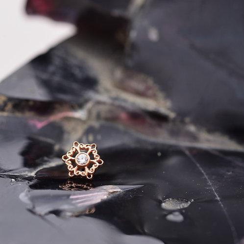 Chloe threadless end Solid Rose Gold with AA White Sapphire