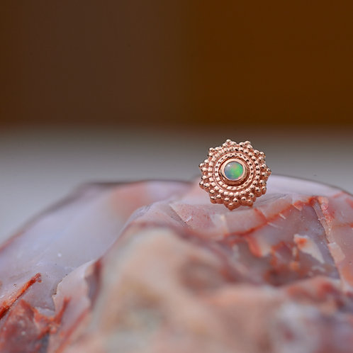 Round Afghan Solid 14k Rose Gold with Genuine 1.5mm AAA White Opal Threadless