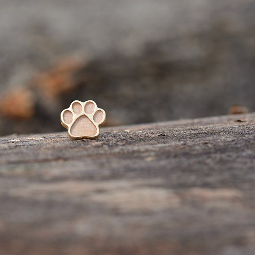 Dog Paw Print Solid Yellow Gold 14k