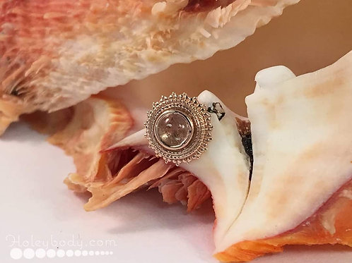 Afghan 14g threaded end Solid 14k Rose gold with Rutilated Quartz