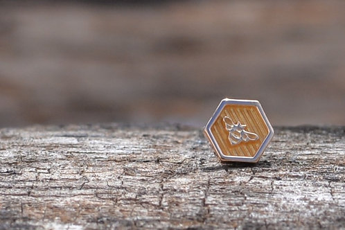 Bee Hexagon 18K Solid Gold Threadless End