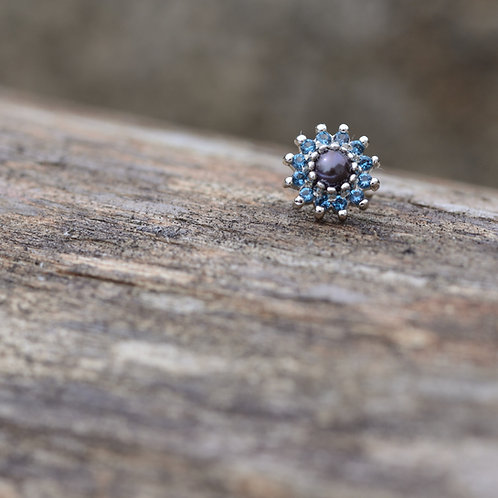 The Rose White Gold Threadless End London Blue Topaz pedals and 3mm Black Akoya