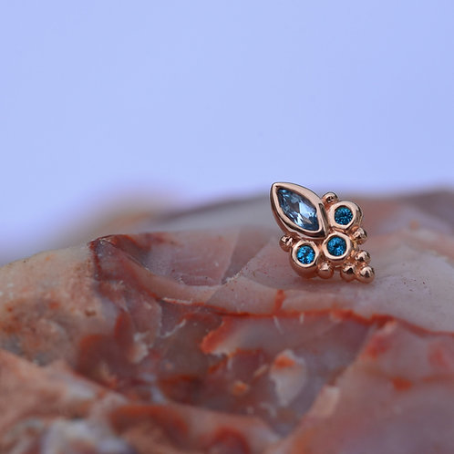 Sarai Threadless end Rose Gold Swiss Blue and Paraiba Topaz 14K